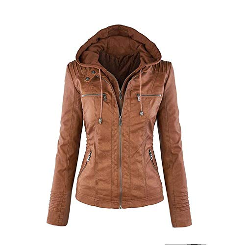 TOPGIFTS Damen Lederjacke mit Kapuze, Lange Hülse doppeltes Zip Jacken Mantel Outwear Lederjacke Damen Herbst Winter Motorrad Jacke...