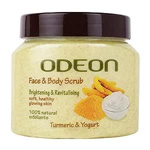 ODEON Turmeric & Yogurt Face and Body Scrub, 300ML   Brightening & Revitalising