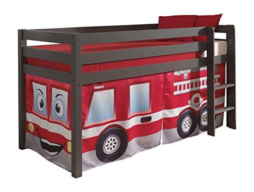 "VIPACK PICOHSZG1570 Spielbett Pino mit Textilset ""Feuerwehr"", Maße 210 x 114 x 106 cm, Liegefläche 90 x 200 cm, Kiefer massiv taupe lackiert"