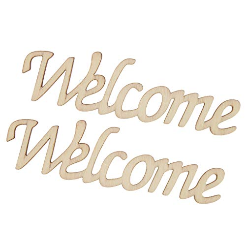 """FLAMEER 2X Buchstaben""""Welcome""""Wandaufkleber Wandsticker Wandschild Verzierung als Wohnkultur und Prop, aus Holz"""