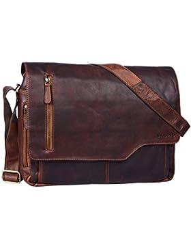 STILORD 'Marlon' Ledertasche Herren Business Uni Büro Vintage Umhängetasche groß DIN A4 mit 15.6 Zoll Laptopfach...