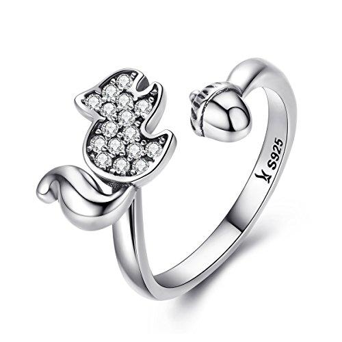 Reiko Kiefer Kastanie 925 Sterling Silber Finger Ring,Geschenk Für Frauen Mädchen,Geschenkbox