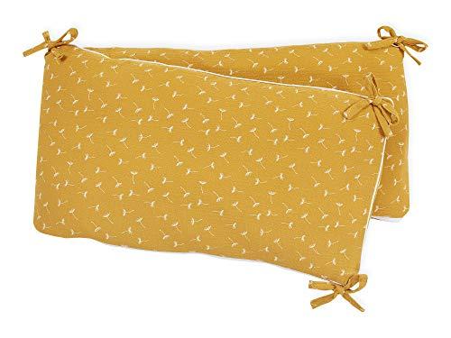 KraftKids Nestchen Musselin gelb Pusteblumen, Bett-Umrandung für Baby-Bett 140 x 70 cm, Baby-Nest mit separatem Außenbezug