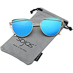 SOJOS Gafas De Sol De Moda Marca Metal Para Mujer-Lentes Planos De Espejo- Con Estilo Ojo De Gato SJ1001 Dorado Frente/Azul Lentes