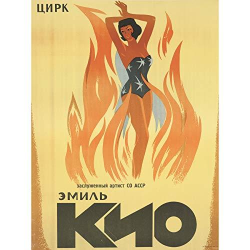 Emil Kio Circus Russia USSR Magic Fire Advert Extra Large Art Print Wall Mural Poster Premium XL Zirkus Russland Sowjetunion Zauber Feuer Werbung Große Kunst Wand -