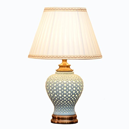 XUANLAN Dimmbare LED-Nachttischlampe, eine Keramik-Lampe moderne Einfachheit, europäische Wohnzimmer Schlafzimmer Esszimmer dekorative Energielampe, 53 * 33cm