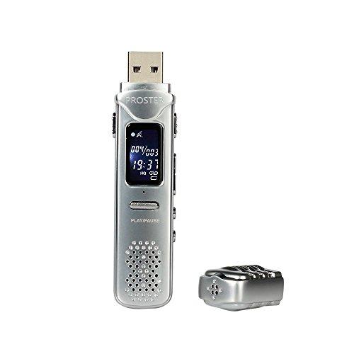 Proster USB Registratore Vocale / 8GB Mini Registratore Audio Digitale - Dispositivo Registrazione Audio Suono 30 Ore con Auricolari per Riunioni Presentazioni Interviste ecc