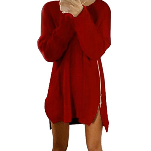 Pullover Kleid Damen, GJKK Mode Herbst Winter Damen Frauen Reißverschluss Pullover Minikleid Pullover Kleid (Wein, L) (Pullover Kleider Herbst)