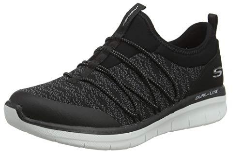 Skechers Damen Synergy 2.0 - Simply Chic Slip On Sneaker, Schwarz (Black/white), 39.5 EU - Laufschuhe Frauen Skechers Für