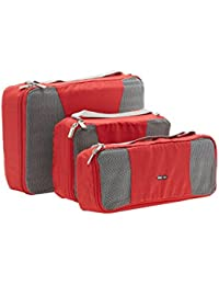 [Sponsored]BagRUs Red Polyester Packing Cubes Travel Organizer Bag Set Of 3 (QB105FRE)