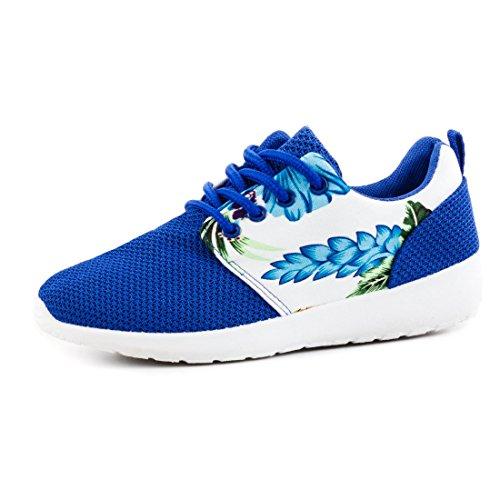 Unisex Mujer unidad Zapatos Cordones Zapatillas Sport Fitness Zapatillas con flores, color Azul, talla 38