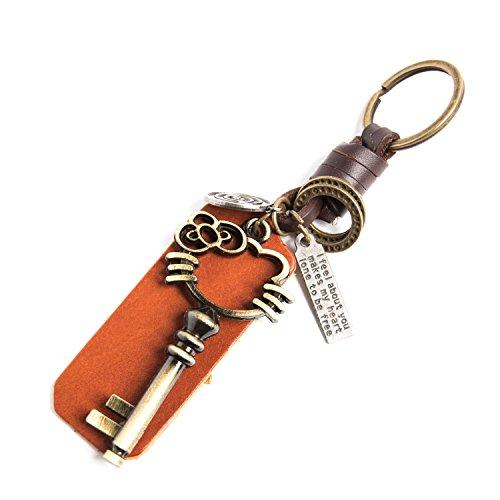 AuPra Hallo Kitty Schlüsselanhänger Aus Leder | Mode Friendship Vintage Keychain Geschenk Schlüsselring | Kreativer Personalisierter Geschenk-Schlüsselanhänger für Frau und Mann (Kitty Geschenke Personalisierte Hello)