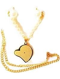 Grabado el Señor Oración del Padre Nuestro Padre Pearl Juego de pendientes de collar con colgante en forma de corazón–Nuestra collar 18K chapado en oro