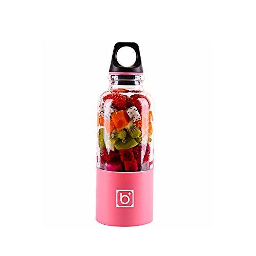 Jencus 500 ml Tragbare Mixer Entsafter Tasse USB Wiederaufladbare Elektrische Automatische Bingo Gemüse Fruchtsaft Maker Tasse Mixer Flasche Zitruspressen (Color : Pink)