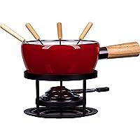 Style'n Cook F414130 Service à Fondue Luca, 8 pièces, Acier Inoxydable, Rouge/Noir, 18 cm