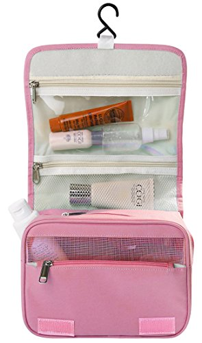 Hanging Toiletry Bag Portable Travel Camping Organizer Waterproof Cosmetic Makeup Shaving Bag Toiletry Kit for Men & Women with Sturdy Hook (Simple-Pink)