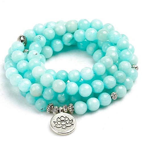 QIANJY 8Mm Konfrontiert Natürlichen Blauen Chalcedon 108 Mala Perlen Armband Buddhistischen Om Bettelarmband Für Frauen Handgefertigte Männer Armreif Schmuck Geschenk