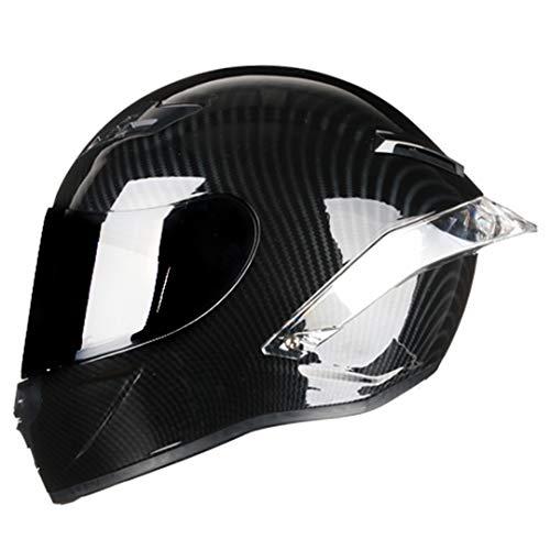 KeRuiLou Casco da Motociclista da Strada con Casco Integrale in Fibra di Carbonio Black visor3 S