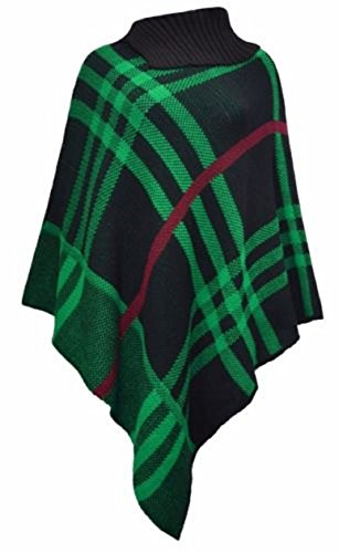 Femmes New Tartan Polo cou Pull Châle chaud Poncho One Taille. One Taille 8 à 22 Green & Black Check Print