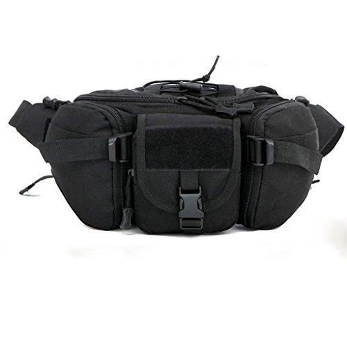 Außen Unisex Hüfttasche Taktische Militärische Hüfttasche Brusttasche Schwarz