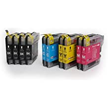 10 Cartouches d'encre compatibles avec BROTHER LC-1100 / LC-980   4x Noir & 2x Cyan/Magenta/Jaune   pour BROTHER MFC & DCP Serie