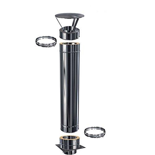 Schornsteinverlängerung Kaminverlängerung doppelwandig DW 150 Höhe 2,0 m / 0,5 mm
