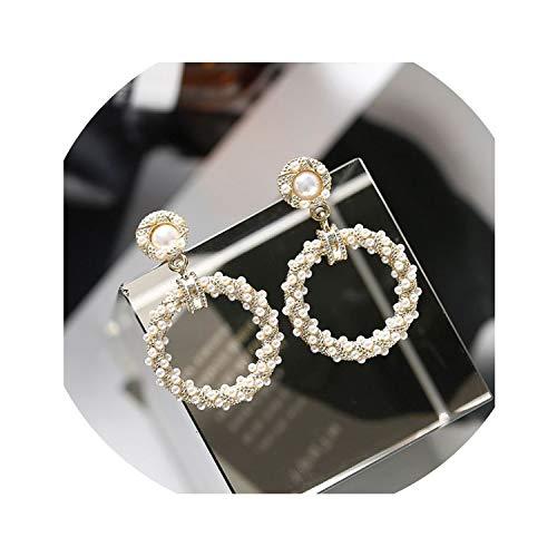 XIAOZHOU modische Perlen-Quasten-Ohrringe mit geometrischen runden Perlen, Perlenohrringe, 1 - Mädchen Mit Perlenohrring Kostüm