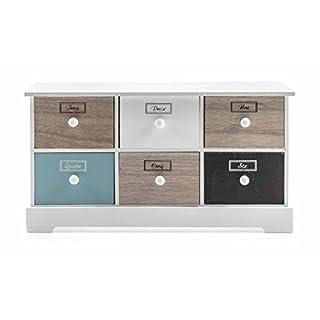 ArtiCasa Mini-Kommode aus MDF, 6 Schubladen, Vintage-French-Design freistehend, weiß, Höhe ca. 29,3 cm oder 21,5 cm (Höhe ca. 21,5 cm)
