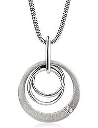 Miore Damen-Kette 925 Sterling Silber Schlangenkette mit Anhänger Zirkonia 45 cm,MSM128N