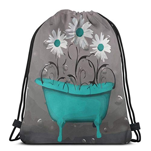 best gift Teal Gray Teal Daisy Flowers Drawstring Bag Backpack Travel Gymsack Drawstring Backpack Sackpack 16.9x14 inch -