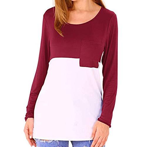 Bluse Damen Beiläufige Farben Block Patchwork T-Shirts O-Ausschnitt Langarm Oberteil Tops mit Tasche Damen Herbst Casual Langarmshirt Lose Hemd Tunika -