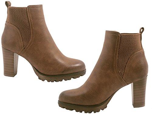 Elara Ankle Boots | Trendige Damen Stiefeletten | Blockabsatz Plateau | Chunkyrayan Khaki 38 - 6