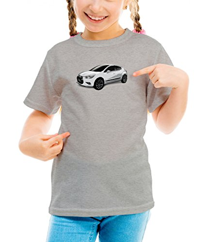 Billion Group | French | City Cars Collection | Girls Classic Crew Neck T-Shirt Grigio Small