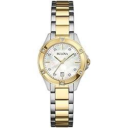Bulova Ladies Women's Designer Diamond Watch - Stainless Steel Gold Fashion Wrist Watch 98W217