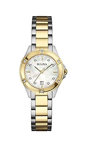 Bulova Ladies Women's Designer Diamond Watch - Stainless Steel Gold Fashion Wrist Watch 98W217