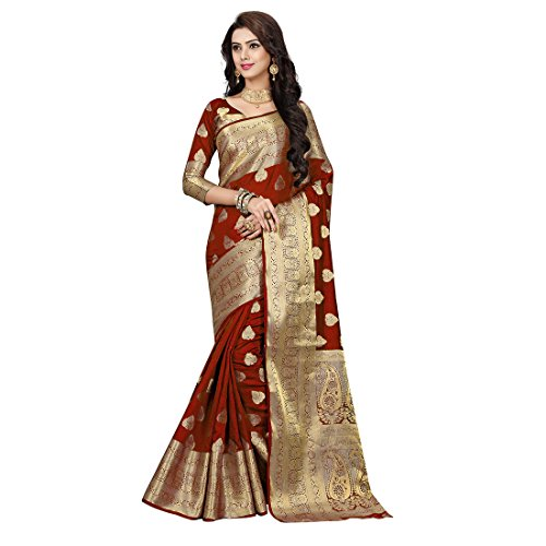 Nirja Creation Multi Color Traditional Fancy Cotton Party wear Silk Saree (Red)