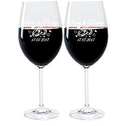 2 Leonardo Weingläser mit Gravur des Namens und Motiv Ringe Wein-Glas graviert Hochzeit Geschenkidee