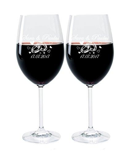 Leonardo 2 Weingläser mit Gravur des Namens und Motiv Ringe Wein-Glas graviert Hochzeit Geschenkidee
