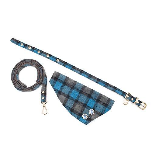(Preis/Set) Gogo handgefertigt Winter Plaid Weihnachten Hundehalsband, Luxus Bandana Hundehalsband Leine, Plaid Bandana Halsband Charms Plaid Hund Leine Und Halsband Set