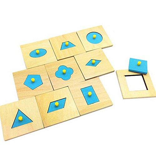 yigooood 10PCS Montessori Holz blau Geometrie Board Sensory Kids Educational Early Learning Holz Spielzeug