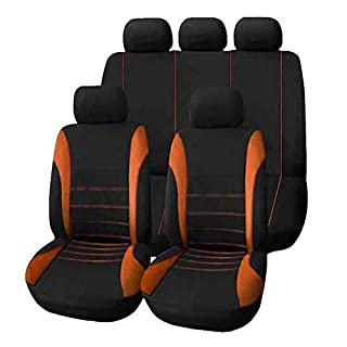 Auto Sitzbezüge Universal Auto Zubehör Innenraum Sitzschoner Komfortabel verschleißfest staubdicht,9 teiliges Set Bird Eye Tuch + 2MM Schwamm,orange