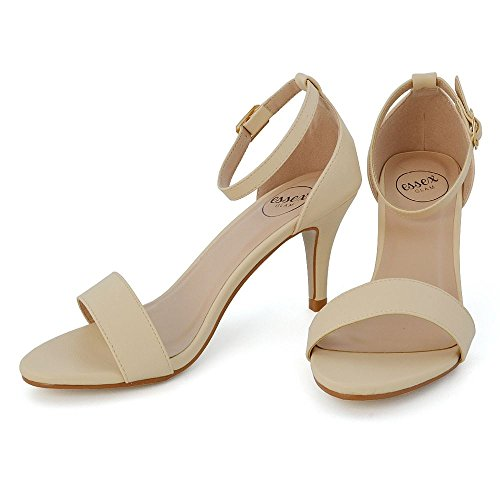ESSEX GLAM Donna Tacco Basso Peep Toe Stiletto Sintetico Cinturino alla Caviglia Sandalo Carne Pelle Sintetica
