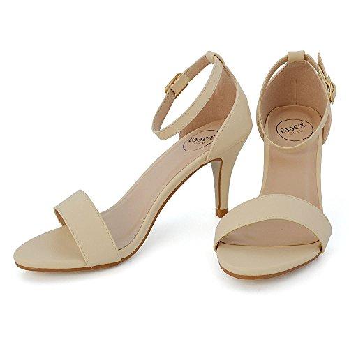 ESSEX GLAM  Peep Toe Sandals, Bride de cheville femme NUDE SYNTHETIC LEATHER