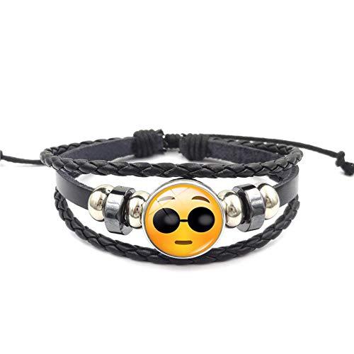 YUANOMSL Armband Sonnenbrillen Cooler Ausdruck Pack Time Edelstein Armband Mehrlagig Gewebt Schwarz Leder Handgefertigt Perlen Europäischen Und Amerikanischen Persönlichkeit Mode