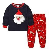 Amooy Dizi Pyjamas Weihnachtsbaum Weihnachtsmann Rentier Baumwolle Langarm für Kinder Mädchen (10-11 Jahre)