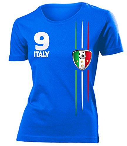 Italien 3209 Fussball Fanshirt Fan Shirt Tshirt Fanartikel Artikel Frauen Damen T-Shirts Blau XXL - Italien Fußball-shirts