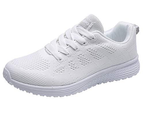 Decai Zapatillas deportivas para mujer y niña.     Moda de correr y zapatos de jogging característica   (1) Material: sintético, textil, suela de EVA y materiales seguros.  (2) Anchura del zapato: Medio (B, M)  (3) Color: Blanco, Negro, Rosa  (4) Lig...