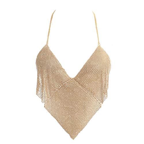 Kette Hals Halfter (FANCYKIKI Damenmode Low-Cut Halfter Hängender Hals Halskette Körper Kette Körper Kette Schmuck Gold Körperschmuck (Farbe : Golden))