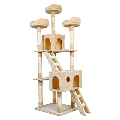 Meerveil Kratzbaum XL XXL, großer Kletterbaum mit Kratzsisal, Stabiler Kratzbaum Katzenbaum, Säulen mit Natürlicher Sisal Umwickelt (50 x 60 x 186 cm, Beige)