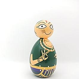12,7cm dipinto a mano in legno Bharatanatyam Dancer | in legno indiano classico Dancer Doll.